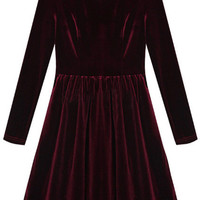 ROMWE | Pleated Hem Wine-red Autumn Dress, The Latest Street Fashion