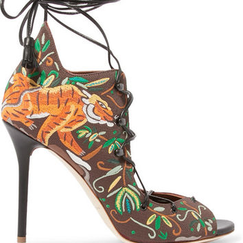 Malone Souliers - Savannah embroidered canvas sandals