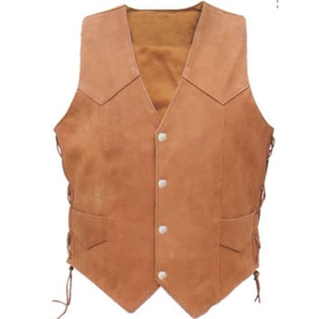 Men,s pure leather vest with front button, brown leather vest for men, brown leather vest