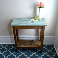 The Allison - Blue Pine Side Table with Bottom Shelf