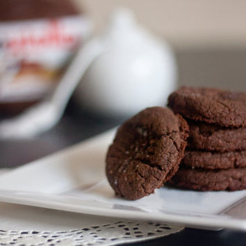 Salted Nutella Cookies - One Dozen - baked goods, baked cookies, homemade cookies, chocolate cookies, peanut butter cookies