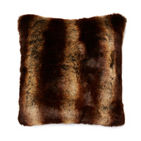 Montague & Capulet Chinchilla Faux Fur Pillow - Walnut
