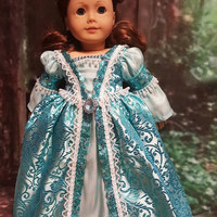 "Historical 18 inch doll clothes ""Ice Blue Reign"" will fit American Girl® renaissance gown medieval sequins gown"