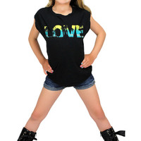Dirtee Hollywood Love Black Sleeveless Tee | Mod Angel