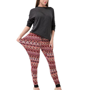 Women's Tribal Aztec Leggings Stretch Pocket