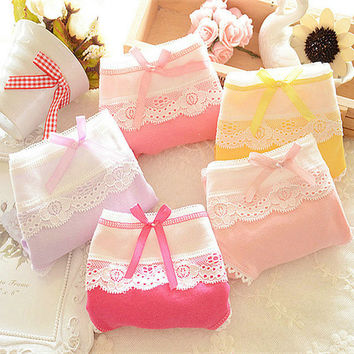 Women's Multi-Color Cotton Soft Lace Bow-knot Underwear Knickers Briefs