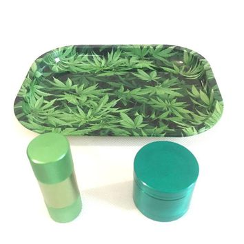 Green Tray + Pollen Press + Green Herb Grinder High Quality Set for Weed Tobacco Smoke Water Pipe Glass Hot Sale