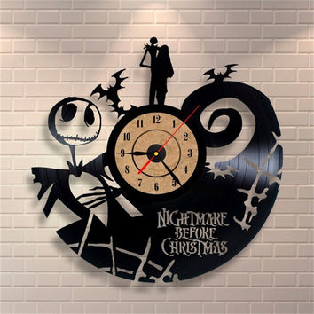 2016 Hot Vinyl Record CD Wall Clock Antique Style Nightmare Before Christmas Film Theme Art Clock Quartz Watch Saat Home Decor