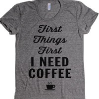First Things Coffee-Female Athletic Grey T-Shirt