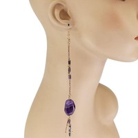 Long Natural Amethyst Stone Boho Earrings
