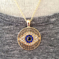 Crystal Evil Eye Necklace Boho Yoga Jewelry UK