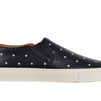 Givenchy Mens Black Leather Cross Pattern Skate Sneakers