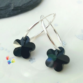 Jet Black Crystal Flower Earrings, Sterling Silver Earrings, Crystal Jewellery, Gift for Her, Flower, Crystal Earrings, girlfriend, wife