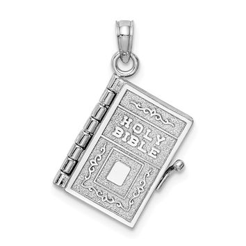 14K White Gold Satin & Polished 3-D Holy Bible Book w/Lords Prayer Pendant