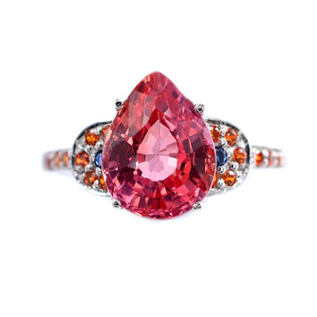 Vintage 4.05CT Pear Cut Pink Padparadscha Sapphire  Ring
