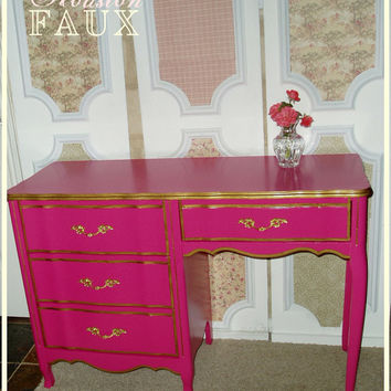 "AVAILABLE -- Victoria's Secret Inspired French Provincial PINK Desk / Vanity - ""The STEPHANIE"""