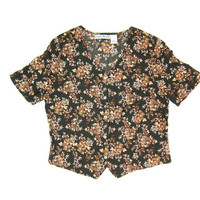 Cropped FLORAL Blouse Button Up Flower Print Shirt Short Sleeve Button Up Top Green Brown Preppy Boho Blouse Women's Medium Large