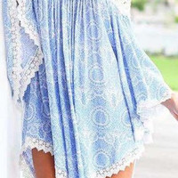 Blue Long Sleeve Asymmetrical Lace Dress