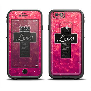 The Love is Patient Cross over Unfocused Pink Glimmer Apple iPhone 6 LifeProof Fre Case Skin Set
