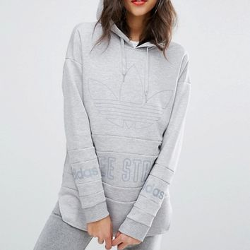 adidas Originals Curved Hem Hoodie With Trefoil Logo at asos.com