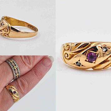 Antique Art Nouveau 18K Gold, Ruby & White Sapphire Ring, 3 Stone, Birmingham, Circa 1900, Wedding, Anniversary, Size 5 1/2 #b987
