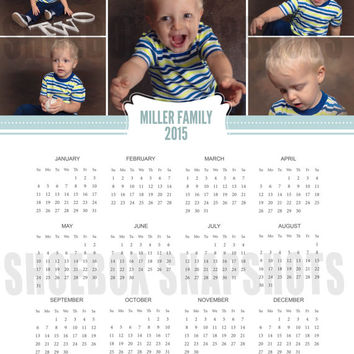 2015 Year Calendar printable, date organizer, photo, personalized wall desk calendars, month year, custom, digital, DIY, Family name