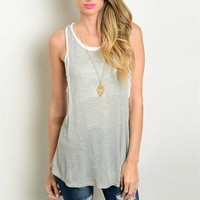 Sleeveless Layered Hunter Grey and White Flowy Top