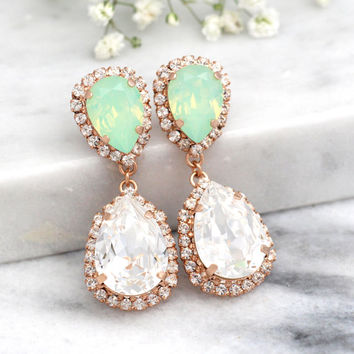 Mint Chandelier earrings,Bridal Mint Opal earnings,Bridal earrings, Gold Mint chandelier dangle earrings,  Swarovski  Chandelier earrings.