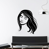 Makeup Wall Decal Vinyl Sticker Decals Home Decor Mural Make Up Girl Eyes Woman Fashion Cosmetic Hairdressing Hair Beauty Salon Decor SV6036