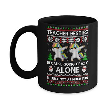 Unicorn Dabbing Teacher Besties Ugly Christmas Sweater Mug