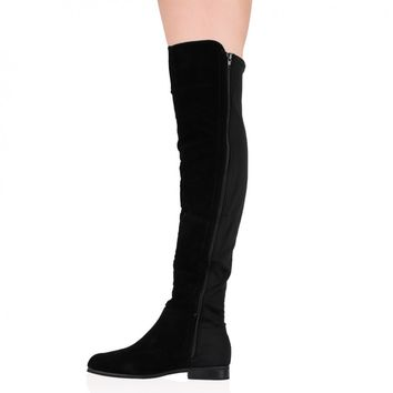 Aliana Over The Knee Boots in Black Faux Suede