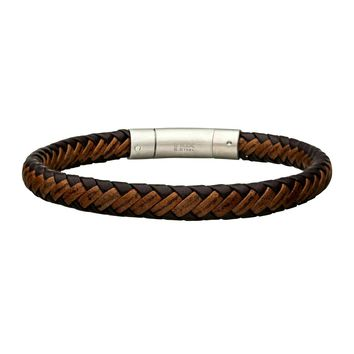 Genuine Dark & Light Brown Braided Leather Men's Bangle Bracelet 8""