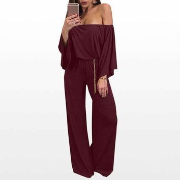 Women Rompers Womens Jumpsuit Long Sleeve Solid Off Shoulder Women Jumpsuit Ladies Loose Romper Ws3015O