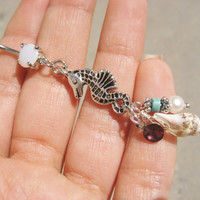 Seahorse Belly Button Ring Jewelry- Sea Horse Shell Charm Dangle Real Seashell Pearl Turquoise Opal Long Beaded Navel Piercing Bar Barbell
