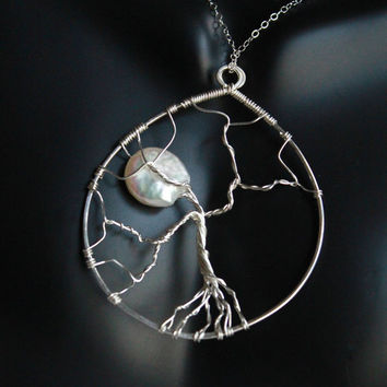 Tree of life Pendant with Chain, Sterling silver necklace, family tree, jewelry, Pearl Jewelry
