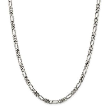 925 Sterling Silver Rhodium-plated 5.25mm Figaro Chain Necklace, Bracelet or Anklet