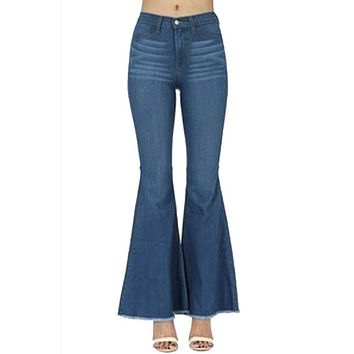 Judy Blue - Medium Blue Denim High Waist Super Flare Jeans