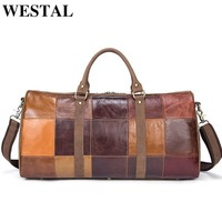 WESTAL Patchwork Genuine Leather Men Bags Men Duffle Bag Leather Luggage Travel Bags Men's Multi-purpose Travel Bag Handbag