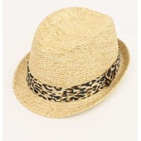 STRAW FEDORA WITH LEOPARD PRINT BAND