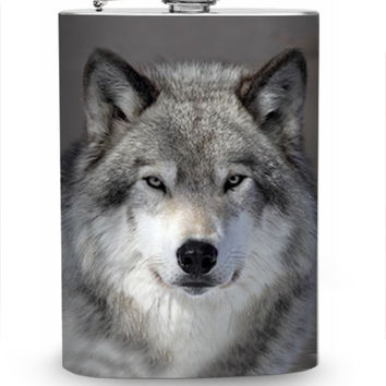 Wolf Flask 8oz Stainless Steel Metal Hip Liquor Container Whiskey Flasks Wild Wolf Pack Nature Animals Dog Woods Guys Gift