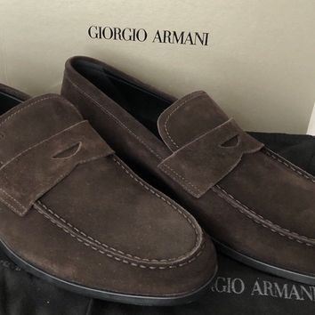 NIB $575 Giorgio Armani Suede Leather Men's Loafer Shoes Brown 10 US X2A243 IT