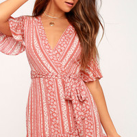 Suns Out Coral Pink Print Wrap Dress