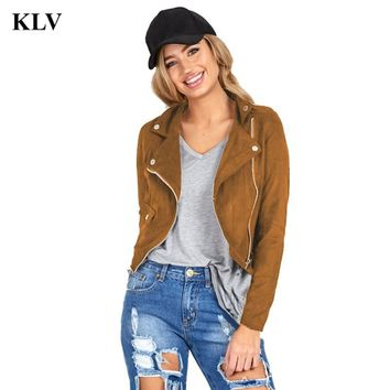 Women's Jacket Cowgirl Slim Biker Motorcycle Faux Leather Zipper Cool Punk Suede Clothing Short Length Coat Outwear Aug19