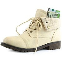 Women's DailyShoes Combat Style Up Sweater Top Ankle Bootie With Pocket for Credit Card Knife Money Wallet Pocket Boots