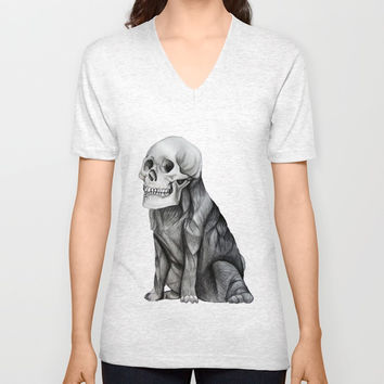 skullpug // A brutal pug wearing a human skull made in pencil Unisex V-Neck by Camila Quintana S