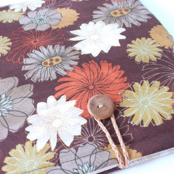 Kimono Ipad Air Sleeve, iPads 4 3 2 1 Smart Cover, Womens Padded Tablet Dust Flower Cover,Asian Floral Fabric Pouch Brown, Orange, Grey,Gold