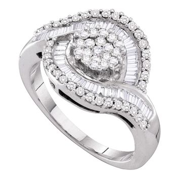 14kt White Gold Womens Round Diamond Flower Cluster Baguette Concentric Ring 1.00 Cttw