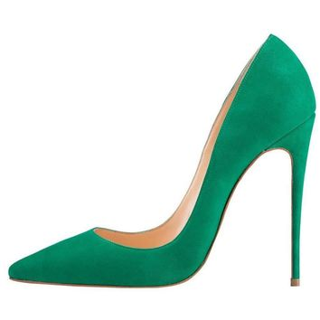 Kmeioo High Heels, Women's Pointed Toe High Heel Slip On Stiletto Pumps Evening Party Basic Shoes Plus Size