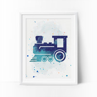 Train Prints, Train Nursery Art, Transportation wall art, Boys Nursery Printable, Watercolor Art, Navy Blue, Mint Nursery Art