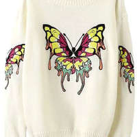 Beige Butterfly Embroidered Knit Sweater